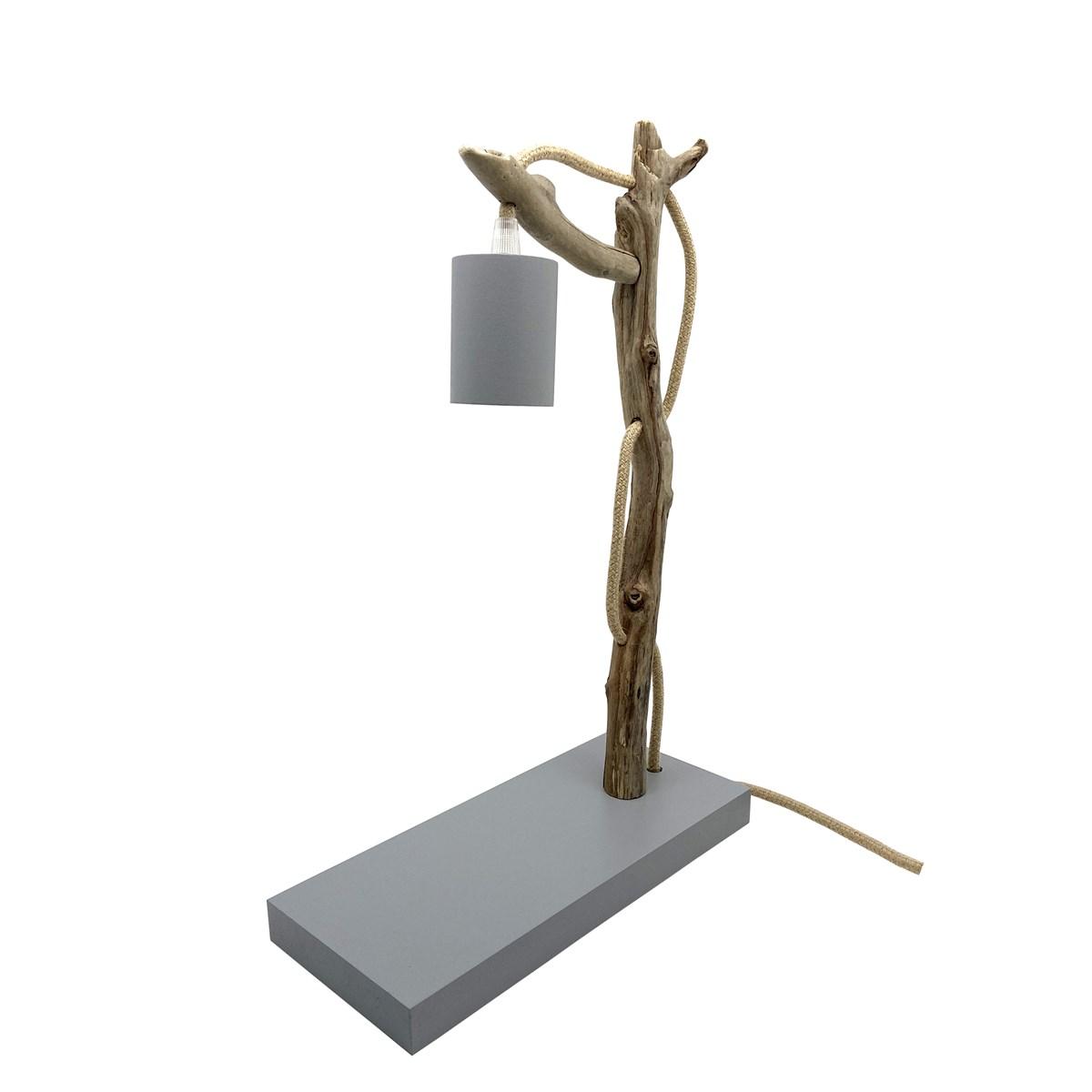 Lampe à poser en bois recyclé gris