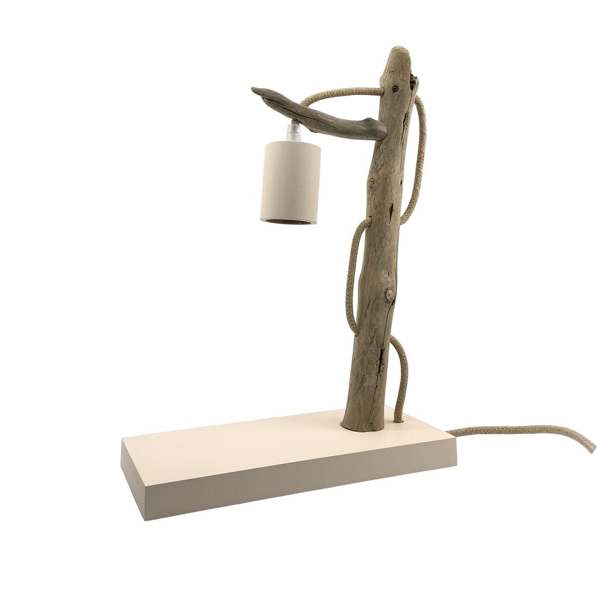 Lampe à poser en bois recyclé blanc cassé