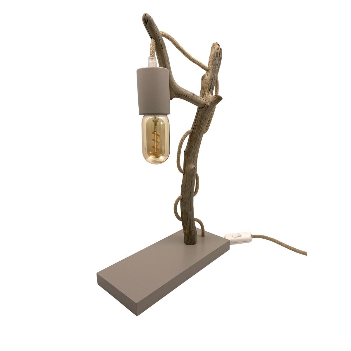 Lampe à poser en bois recyclé taupe