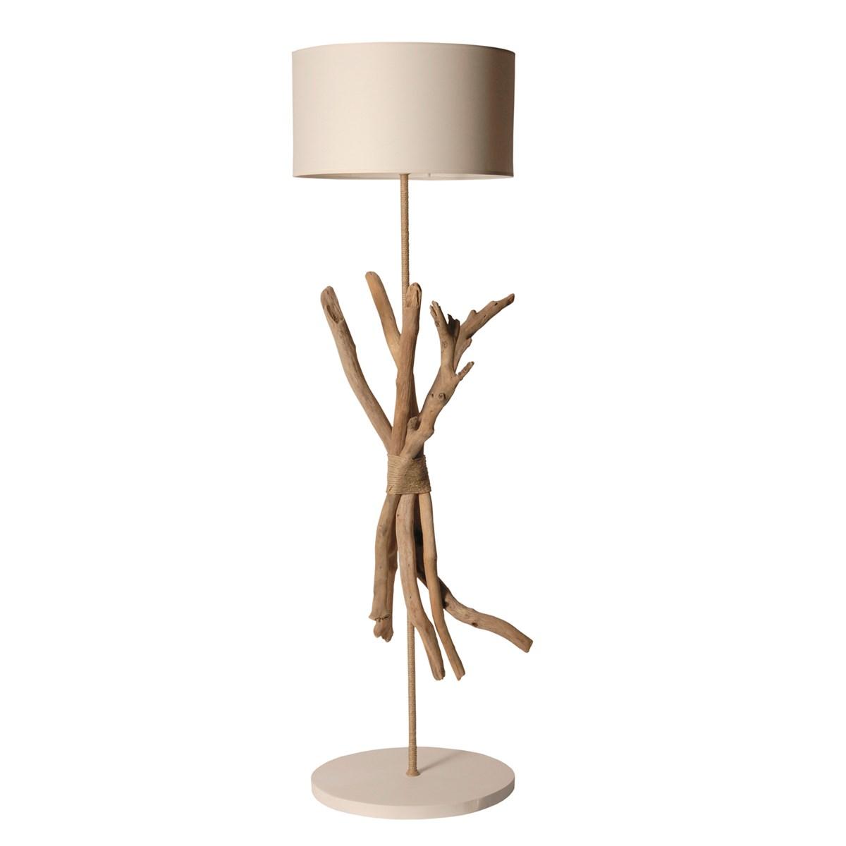 Lampadaire en bois blanc cassé