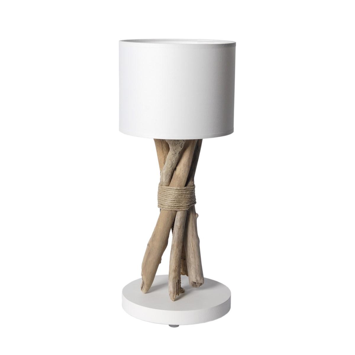 Lampe à poser en bois blanc