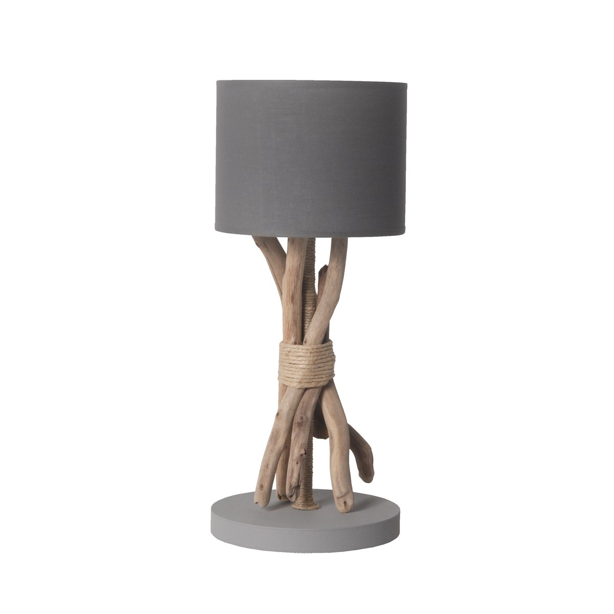 Lampe à poser en bois gris souris