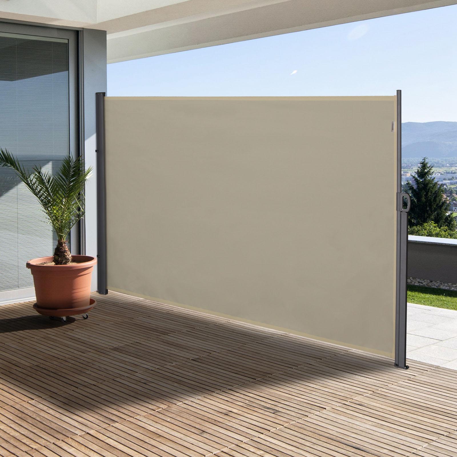 Store latéral brise-vue rétractable alu. polyester haute densité crème