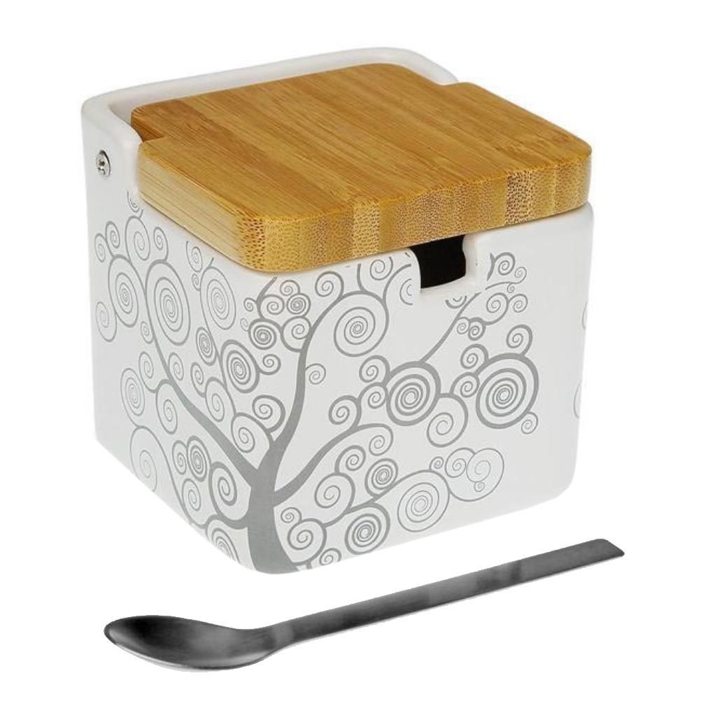 Boite à sel en céramique et bambou blanc et gris