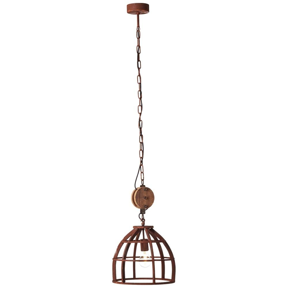 Suspension bois rouille H147cm