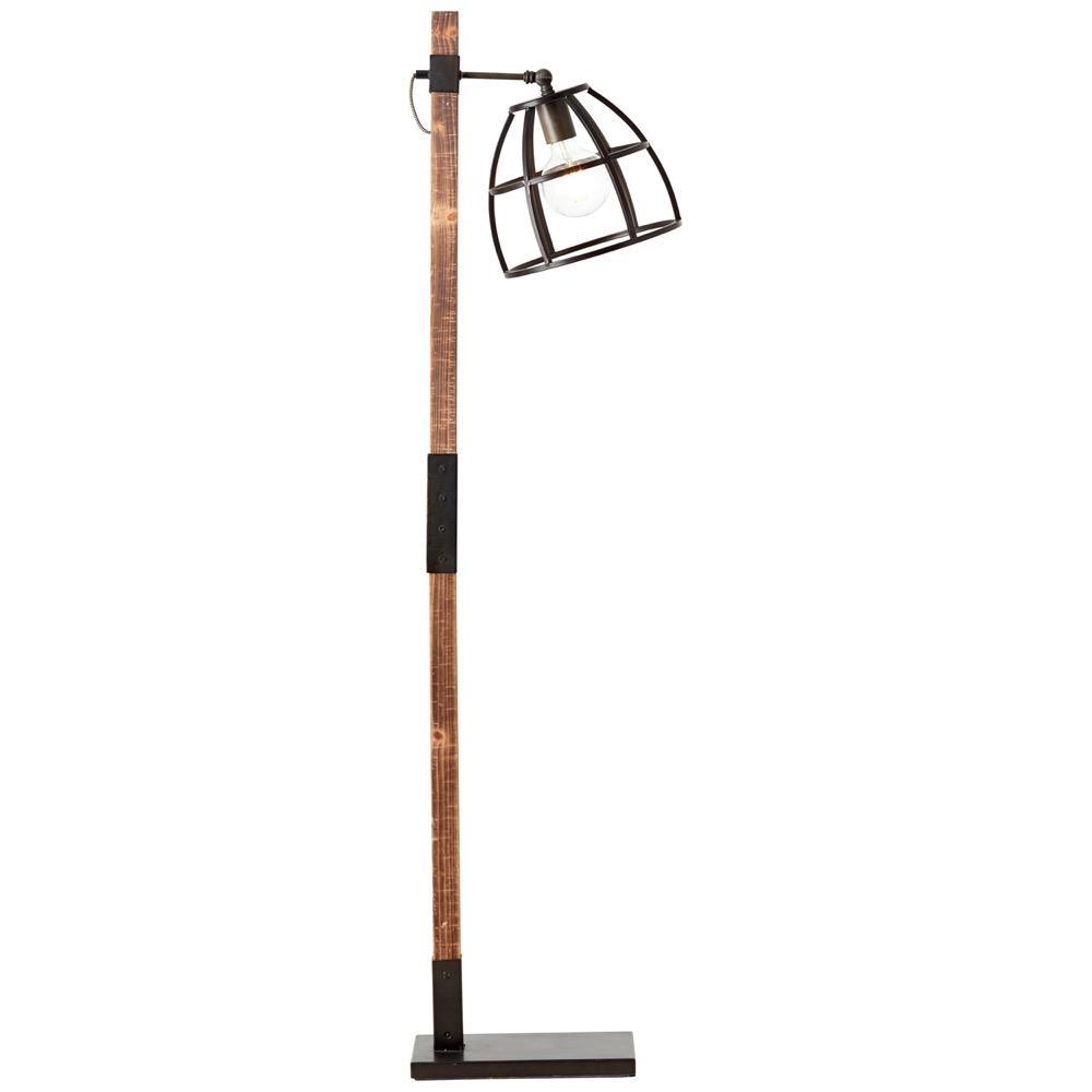 Lampadaire en bois et noir H141cm