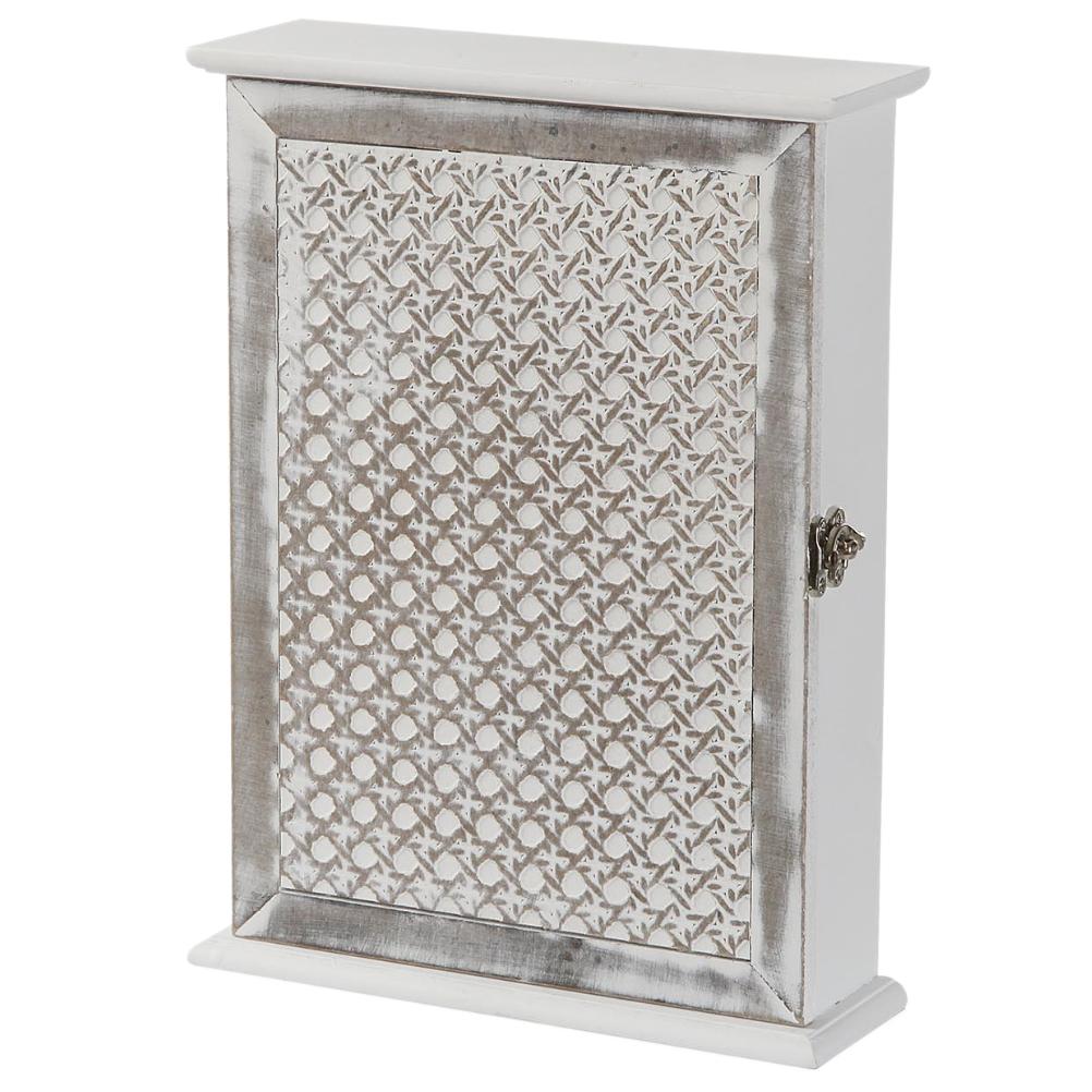 Boîte rectangulaire à clefs blanche et grise