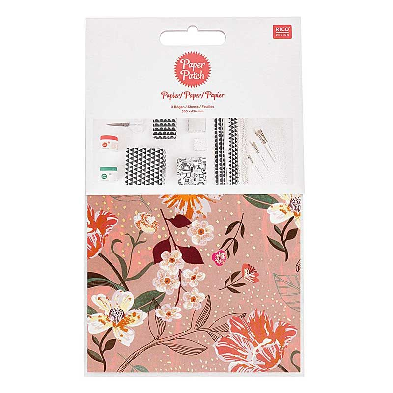 Papier patch rose motif floral 30x42cm