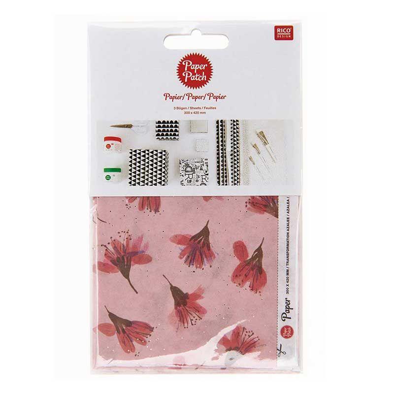 Papier patch floral azalée rose 30x42cm