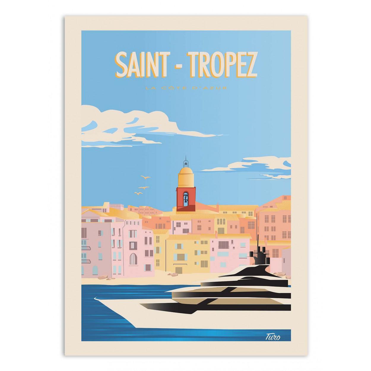 SAINT-TROPEZ - TURO - Affiche d'art 50 x 70 cm