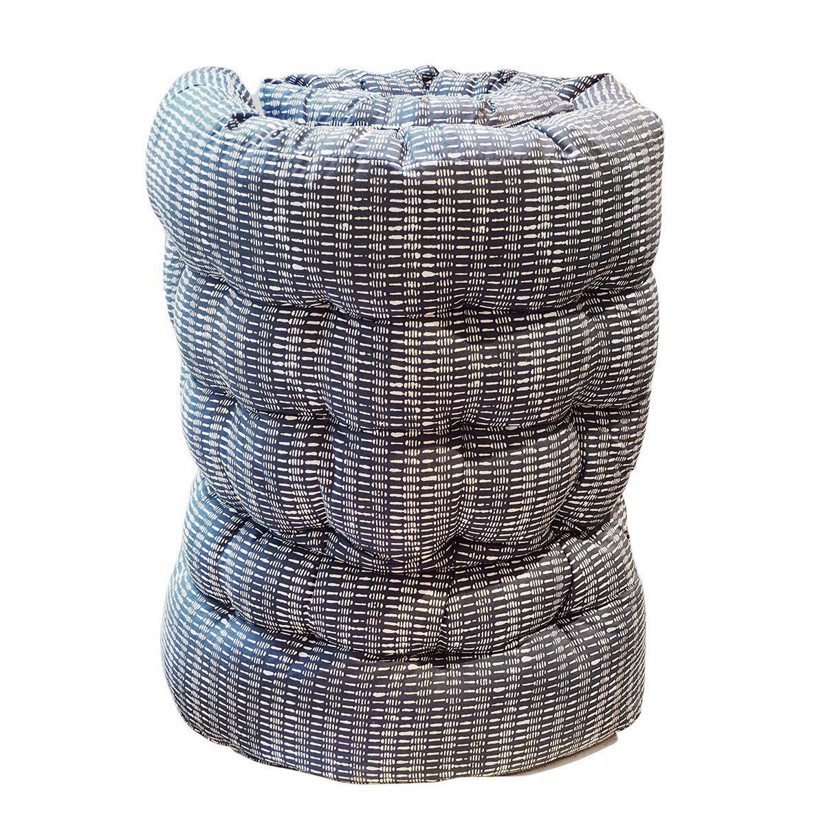 Matelas de sol en coton imprimé bleu
