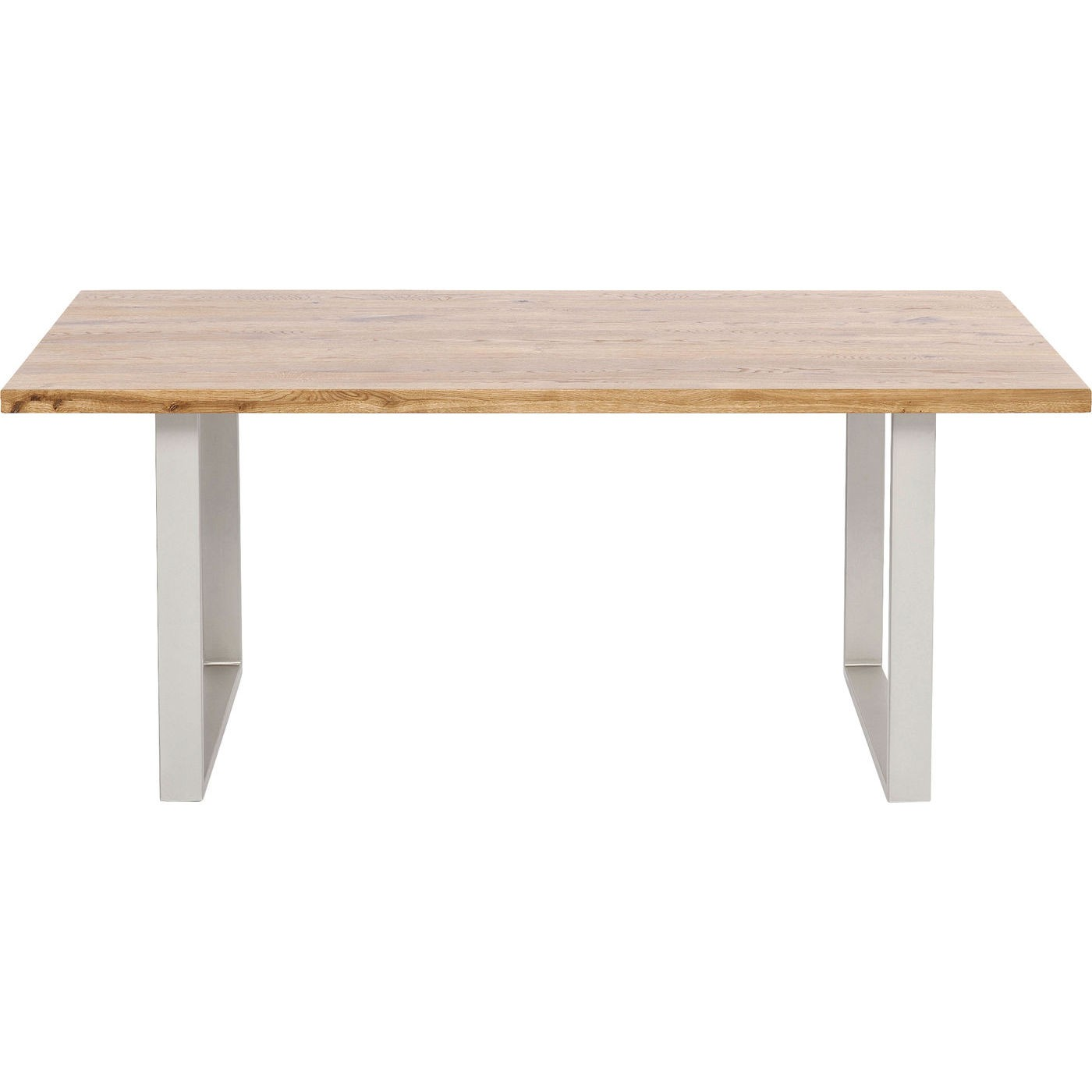 Table à manger 6 personnes en chêne et acier argenté L160