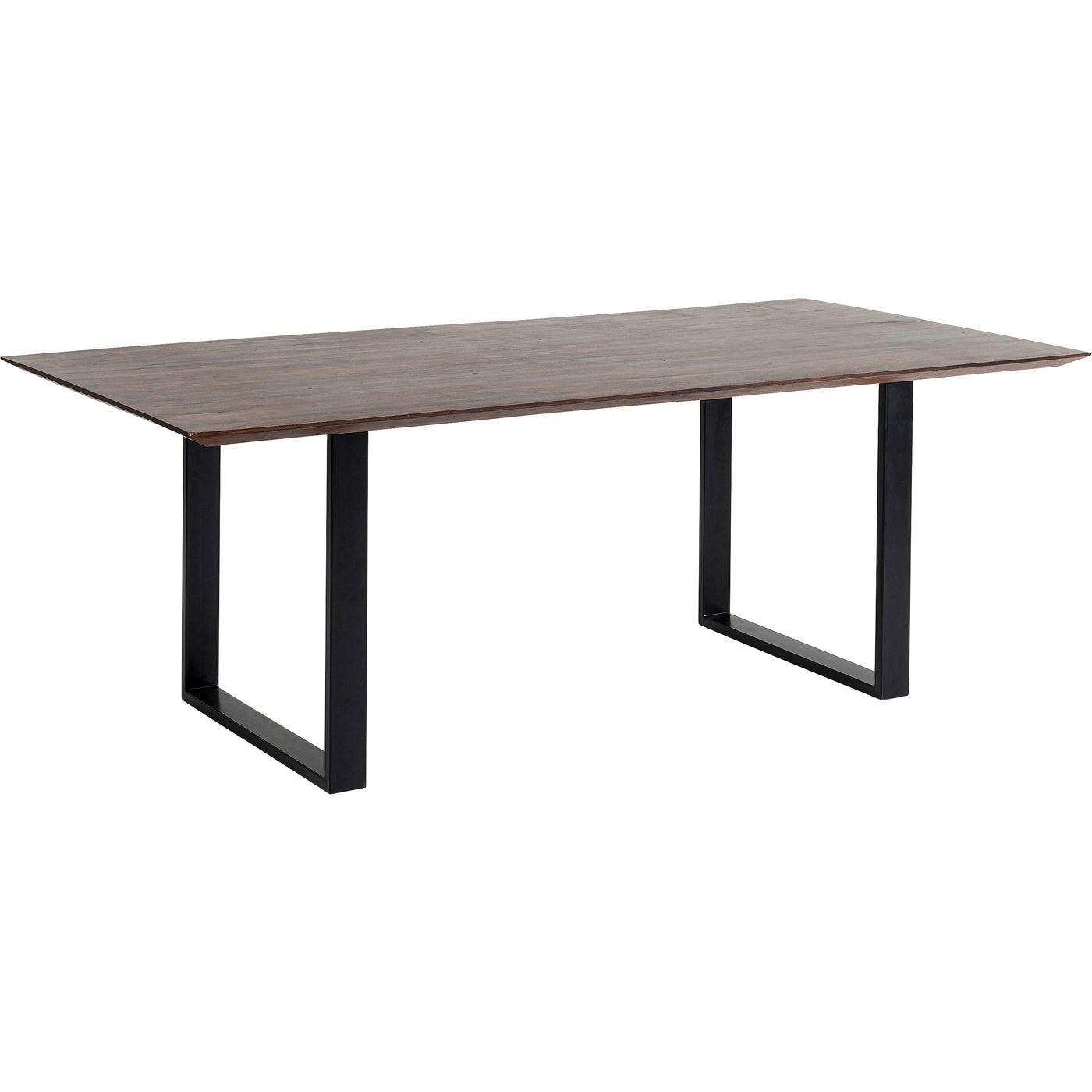Table à manger 6 personnes acacia brun biseauté et acier noir L160