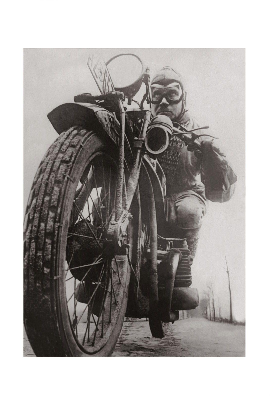 Photo ancienne noir et blanc moto n°29 cadre noir 30x45cm