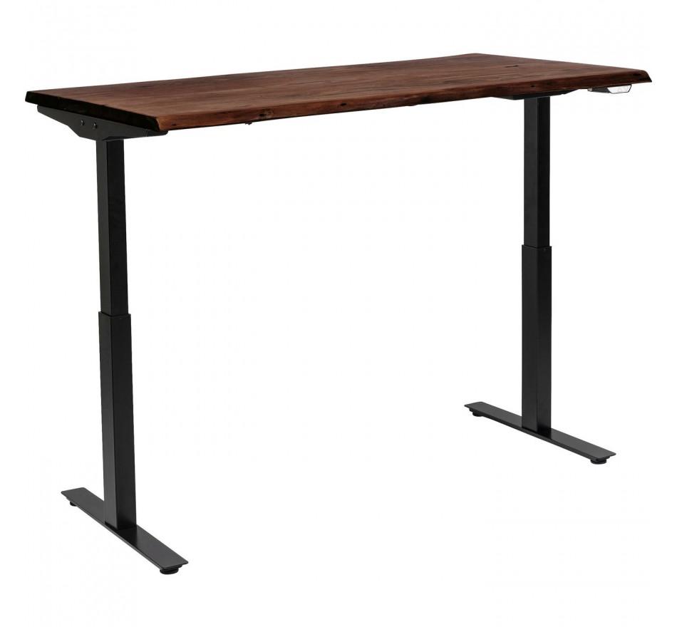 Bureau réglable assis-debout acacia brut et acier noir L180