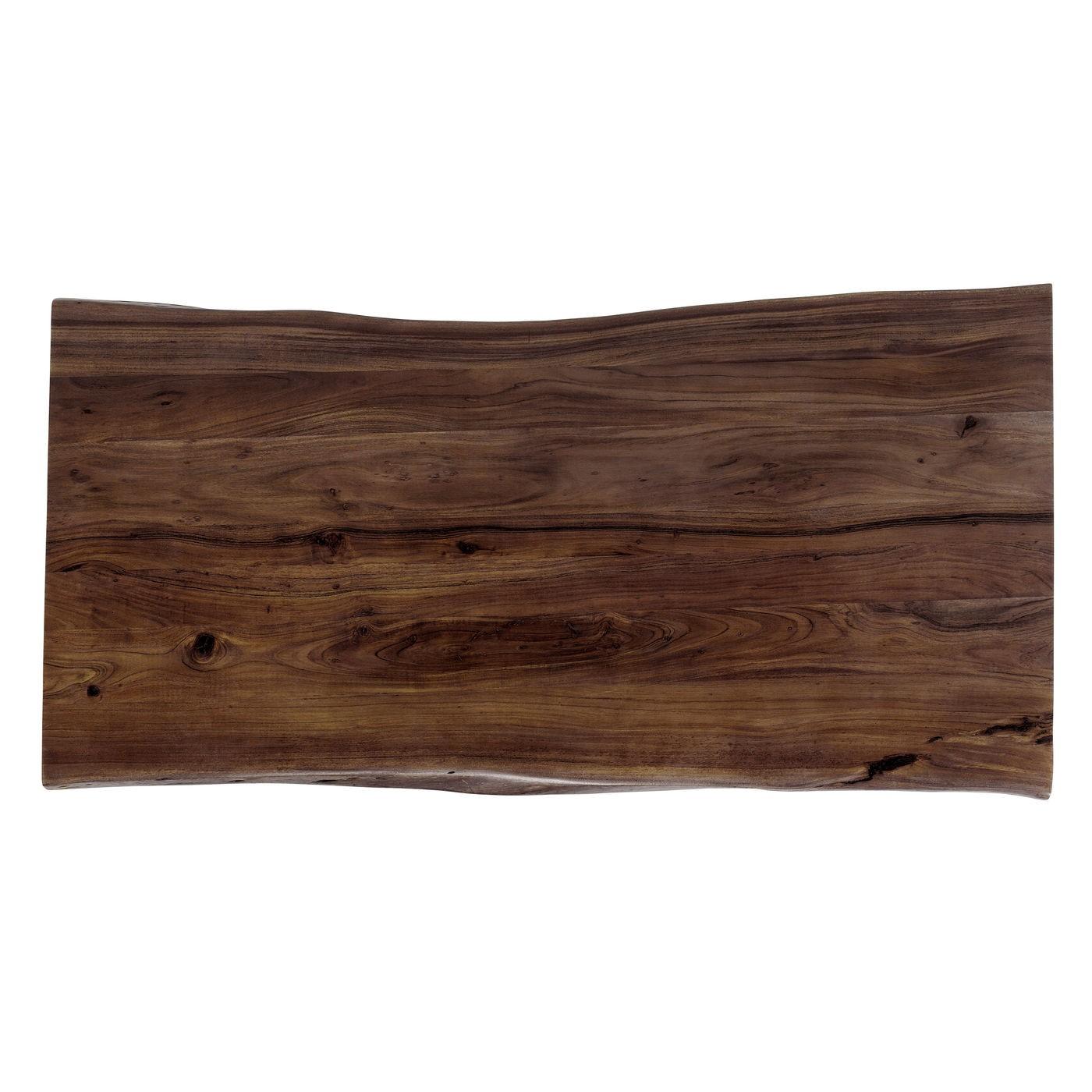 Table à manger 8 personnes en acacia brun brut et acier L180