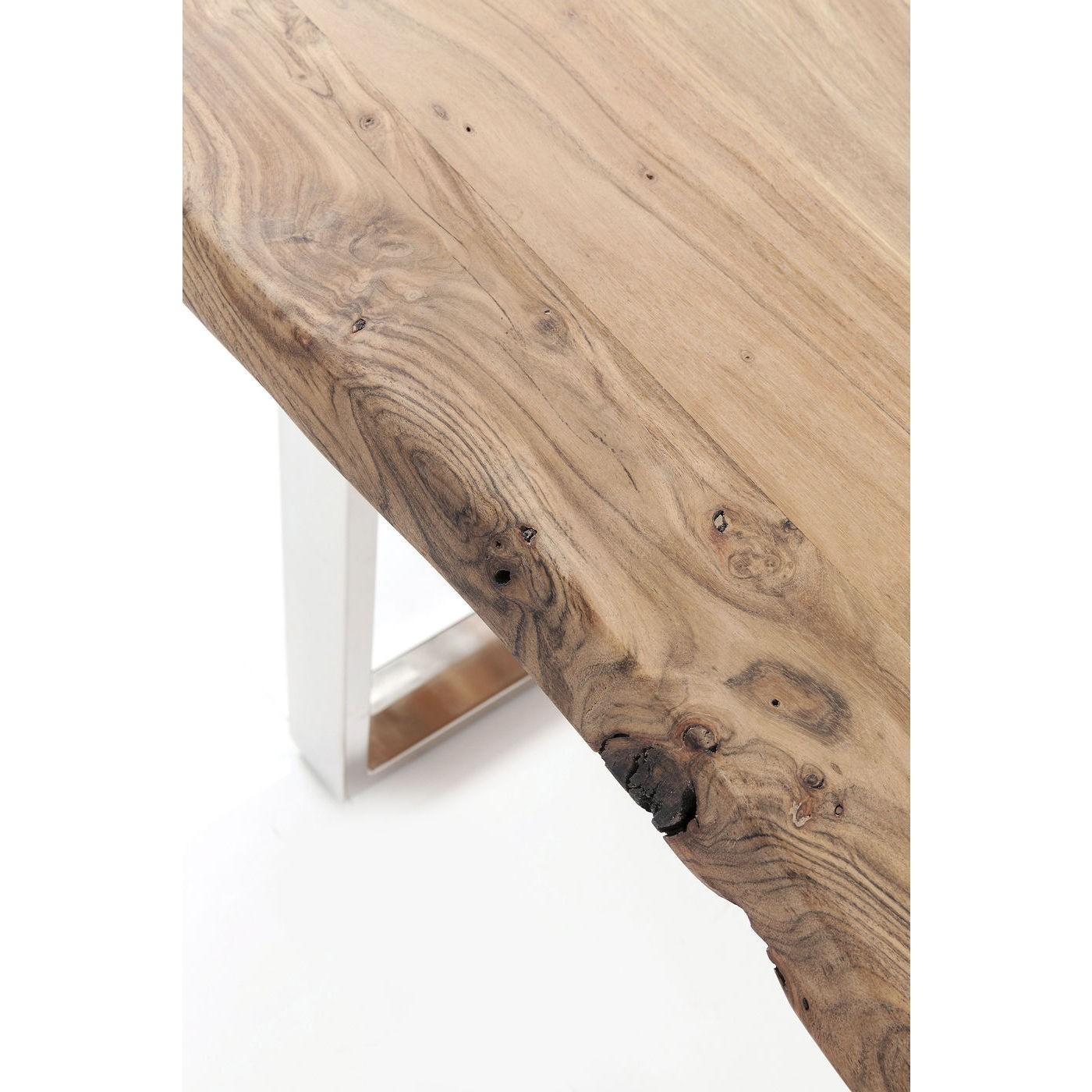 Table à manger 8 personnes en acacia brut et acier chromé L180