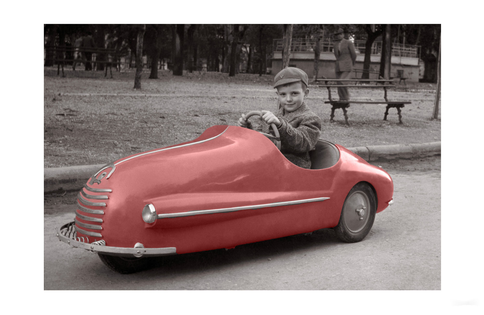 Photo ancienne couleur enfance n°07 cadre noir 30x45cm