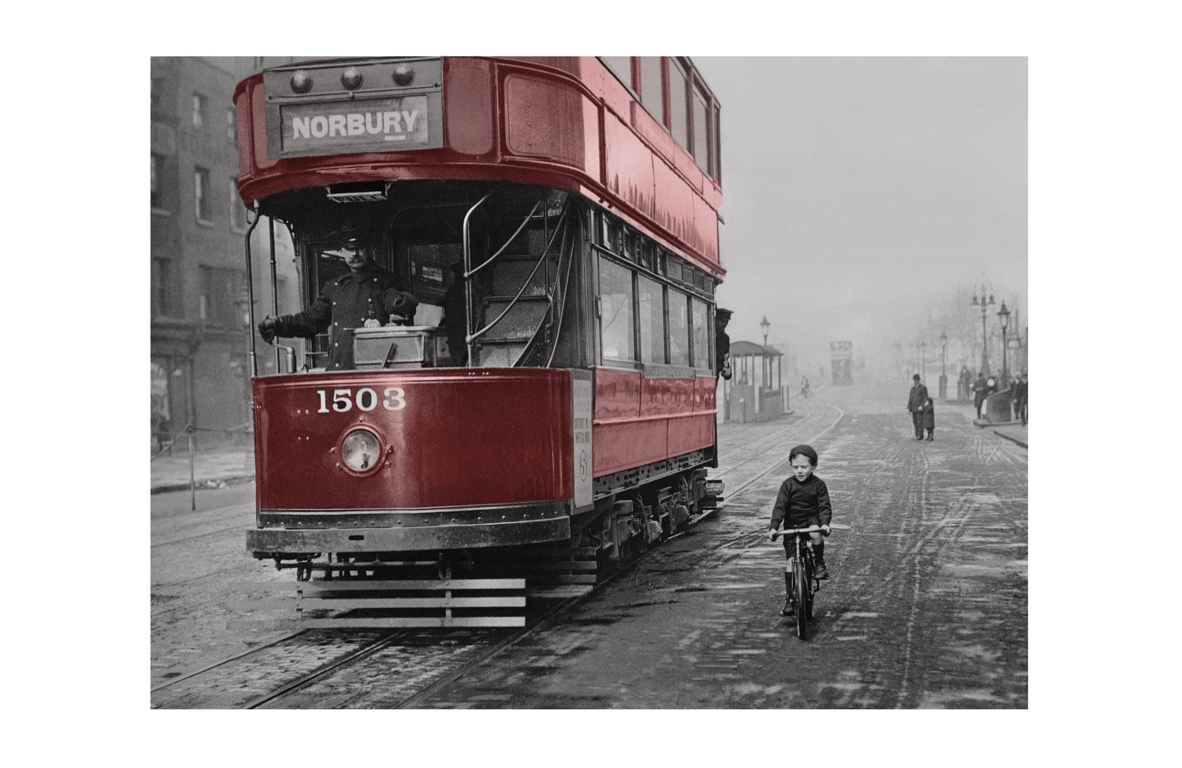 Photo ancienne couleur ville n°02 cadre noir 70x105cm