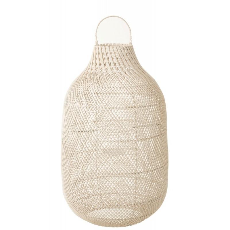 Lanterne cylindrique rotin blanc H78,5cm