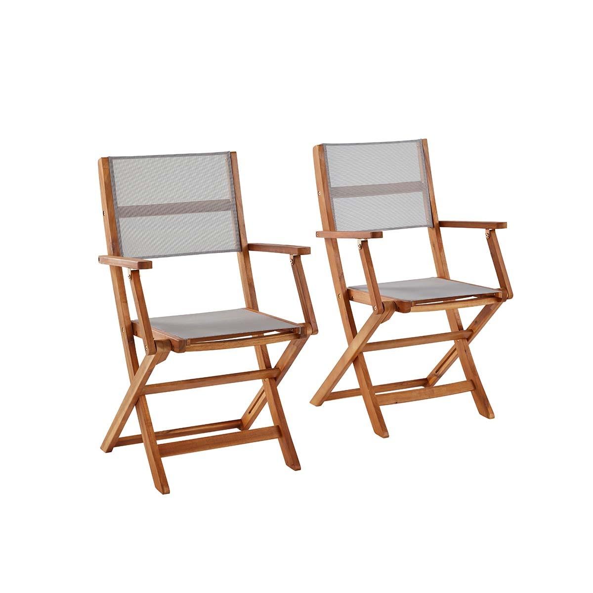 2 fauteuils acacia et textilène