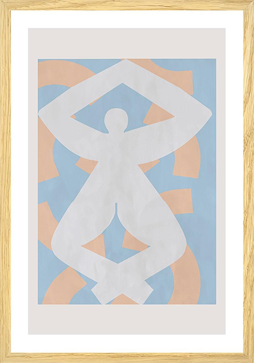Affiche pastel et courbe Affiche sous cadre bois