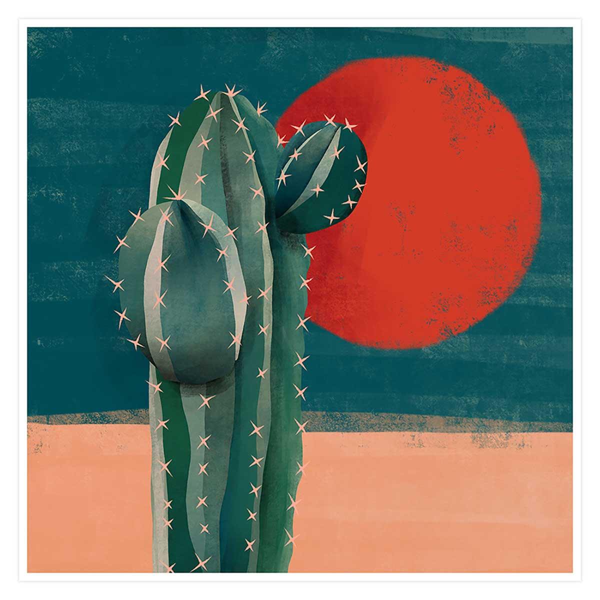 Affiche illustration cactus et soleil rouge Affiche seule