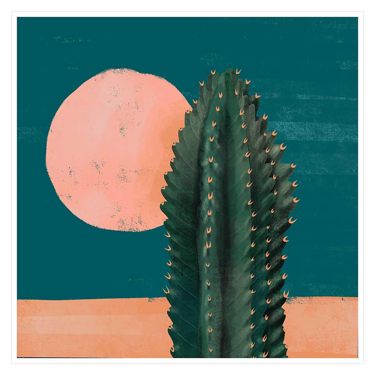 Affiche illustration cactus et soleil rose Affiche seule