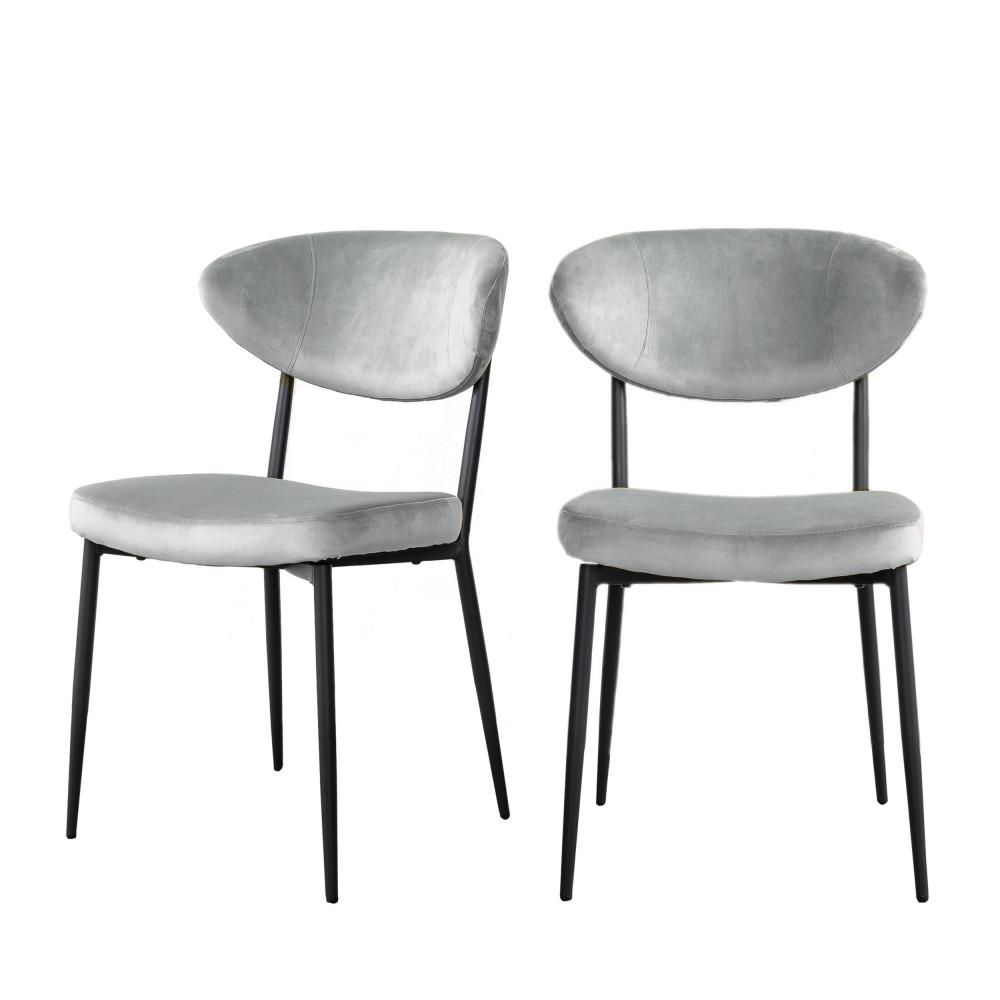 2 chaises en métal et velours gris clair
