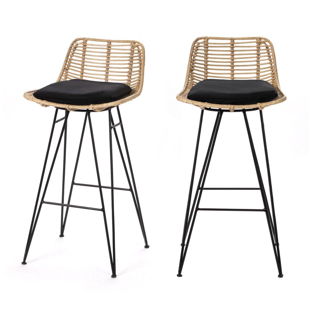 2 chaises de bar design en rotin 67cm