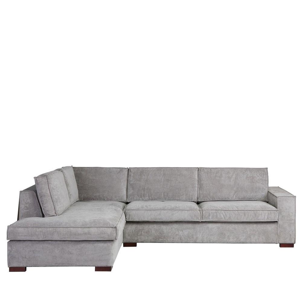 Canapé d'angle 4 places Gris Tissu Confort