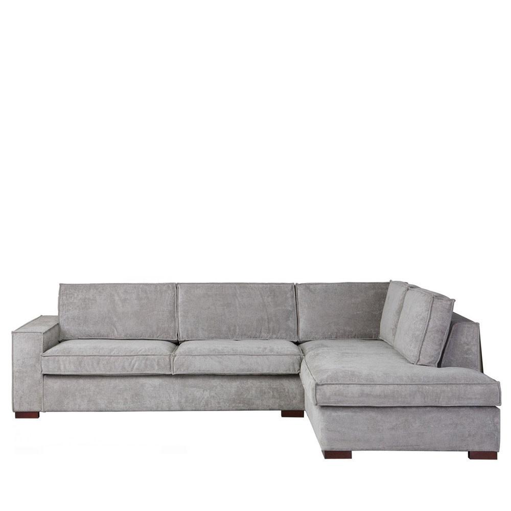 Canapé d'angle 4 places Gris Tissu Moderne Confort