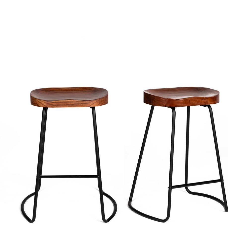 2 tabourets de bar bois massif et métal 65cm