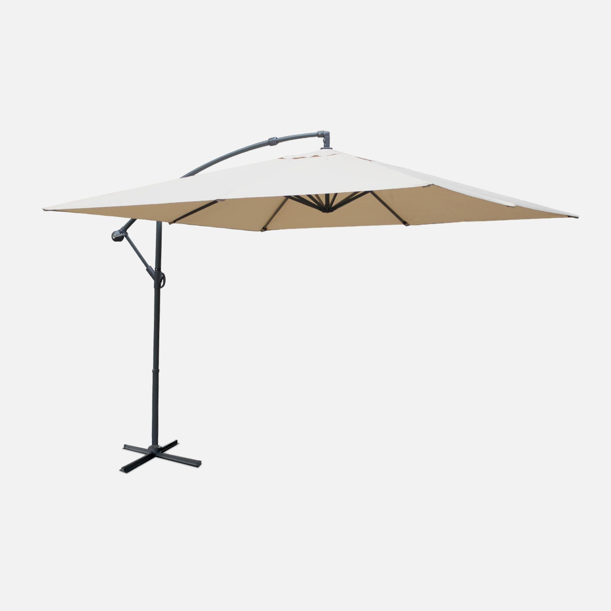 Parasol déporté carré 3x3m beige mat excentré
