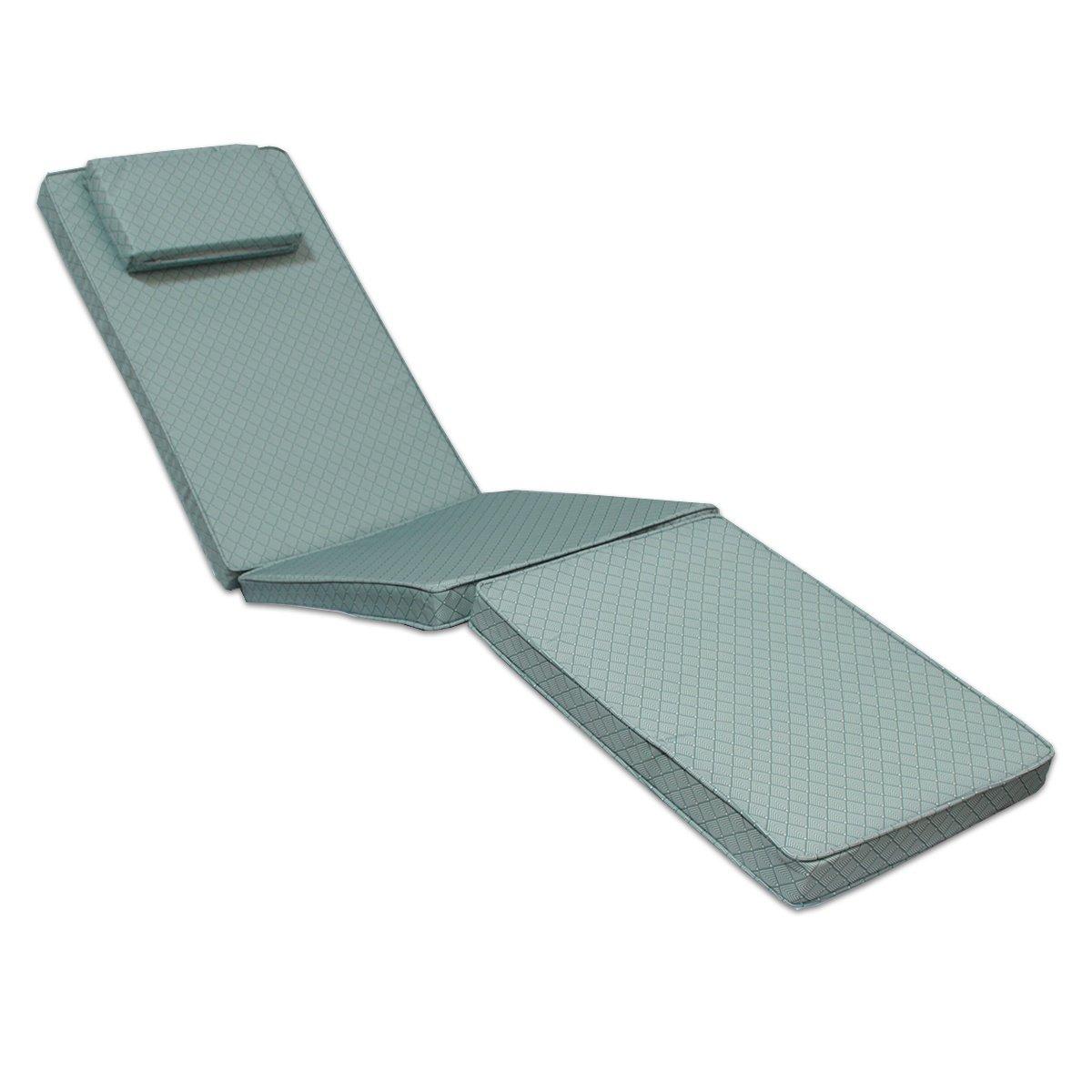Matelas à motifs gris/blanc pour chaise longue