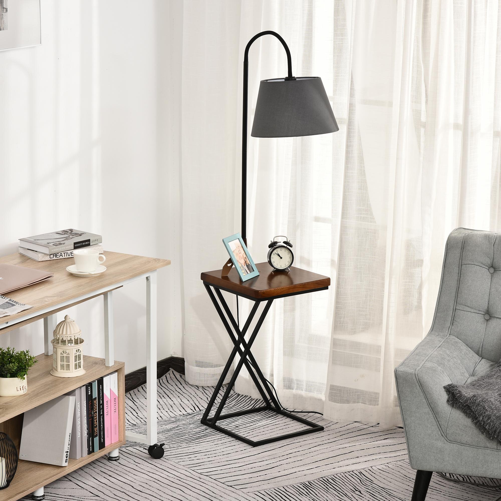 Table d'appoint lampadaire en bois de pin