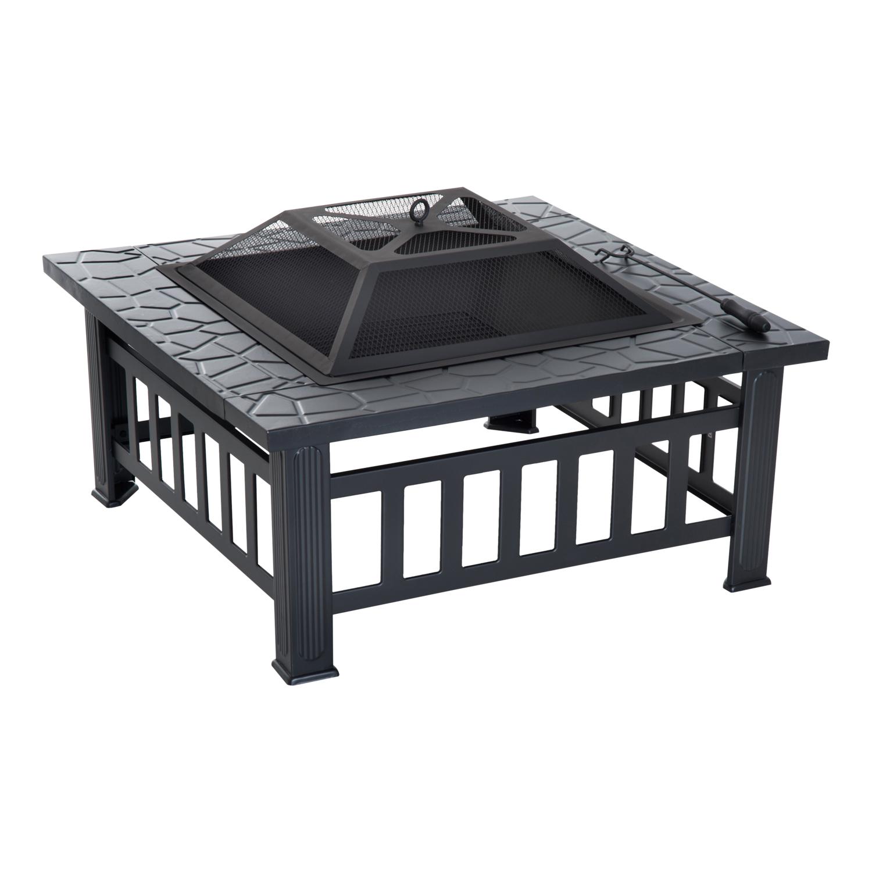 Brasero grille à charbon couvercle tisonnier métal noir