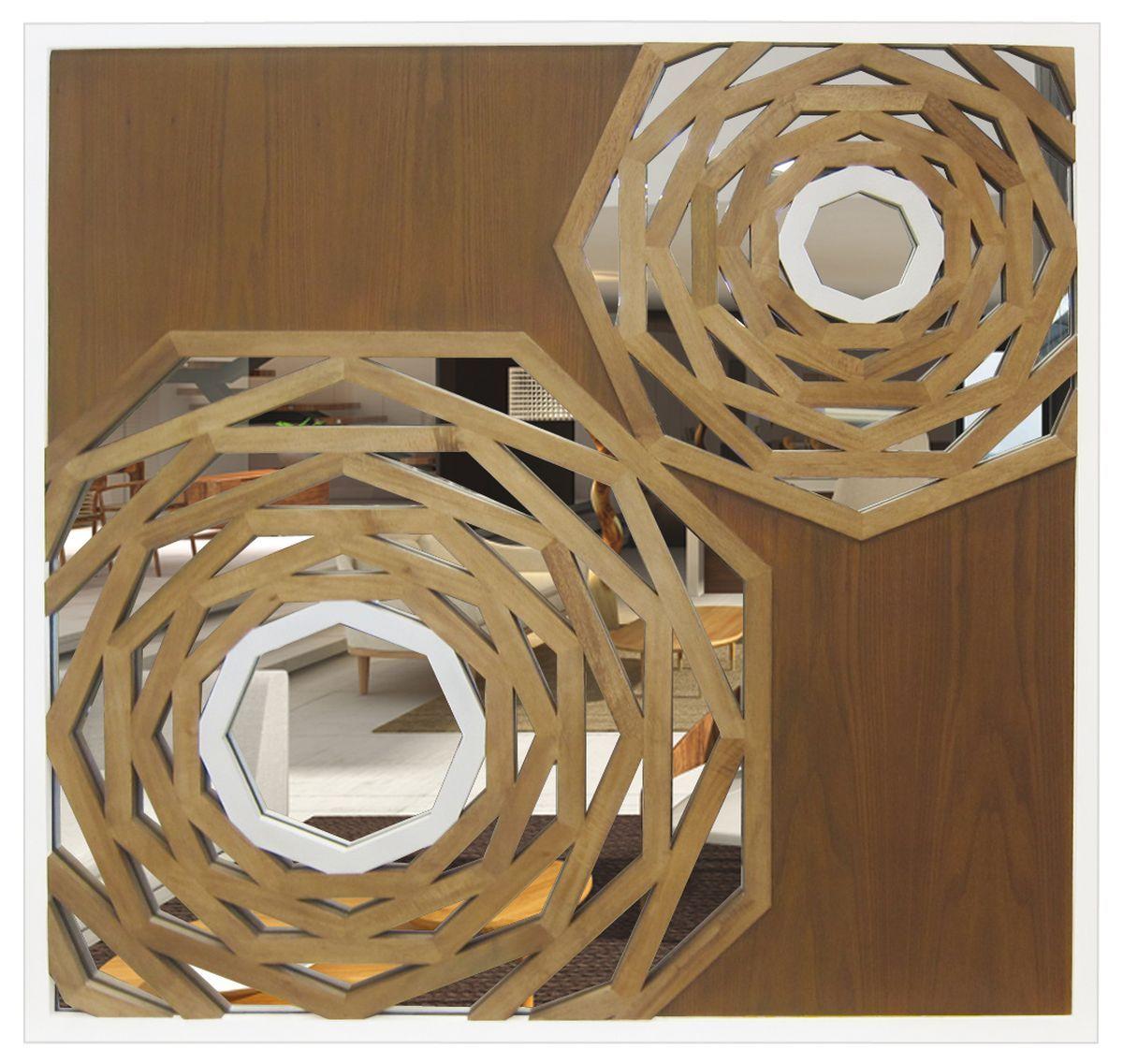 Miroir en bois sculpté 100x100