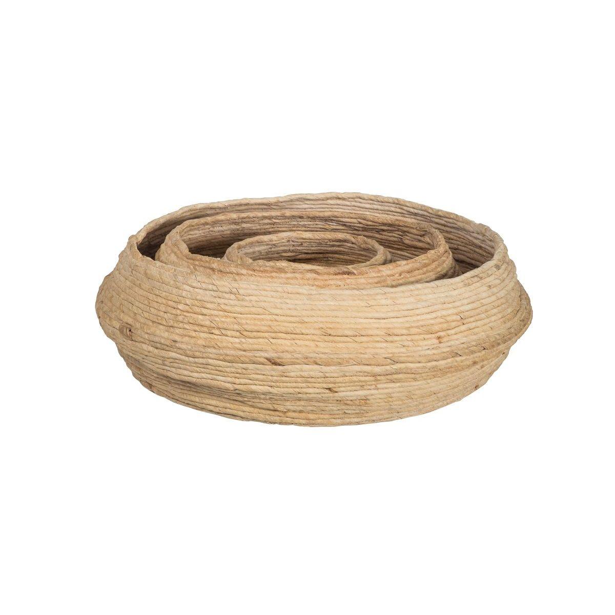 Lot de 3 paniers ronds en fibre d'abaca D30-42-55