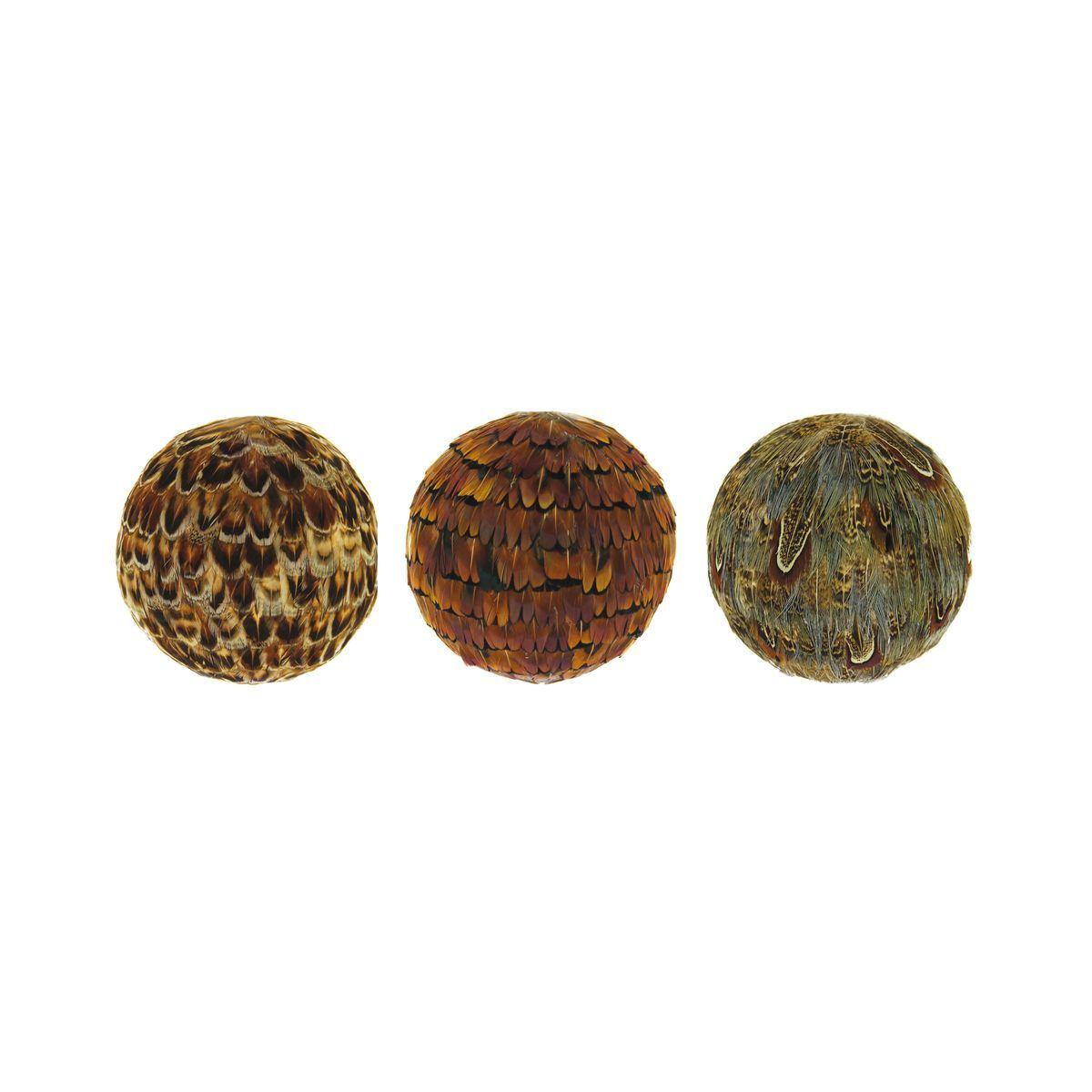 Lot de 3 boules décoratives en plumes de faisan