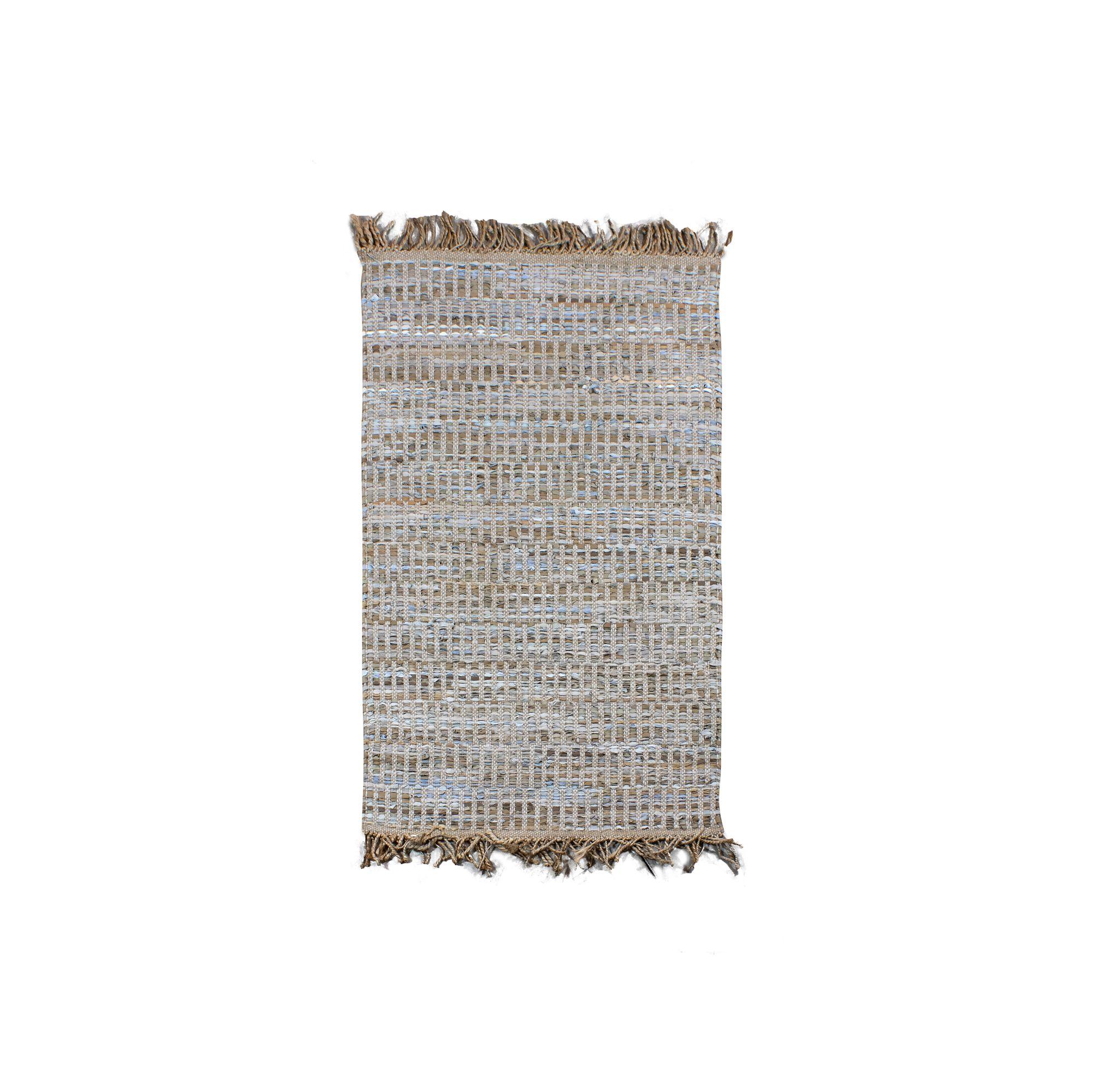 Tapis en cuir, jute et coton 150x90 cm