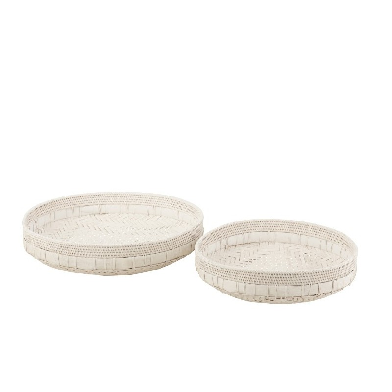 Plat rond rotin blanc 50cm - Lot de 2