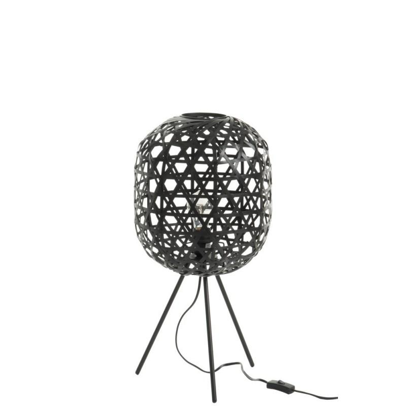 Lampe de bureau trépied bambou/métal noir H59,5cm