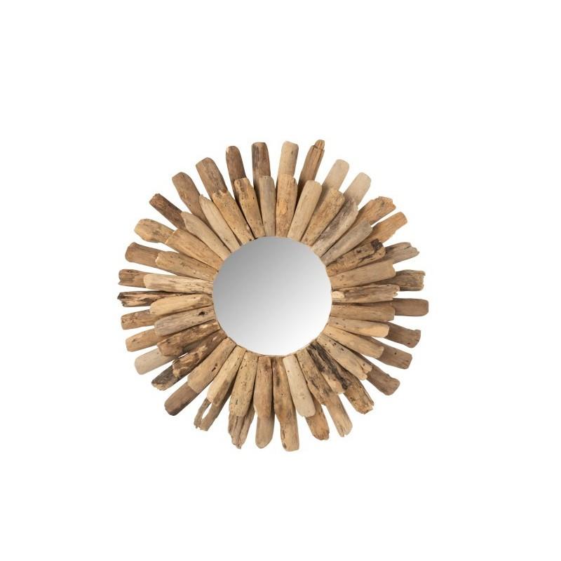 Miroir rond bois flotté naturel H70cm