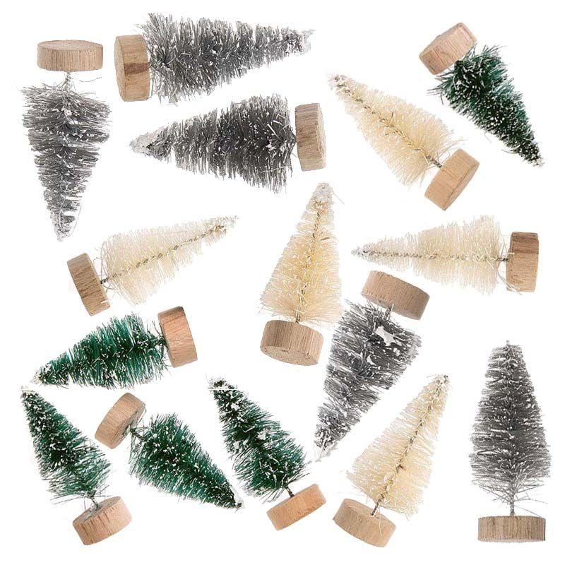 15 petits sapins de Noël décoratifs vert-gris-blanc 5cm