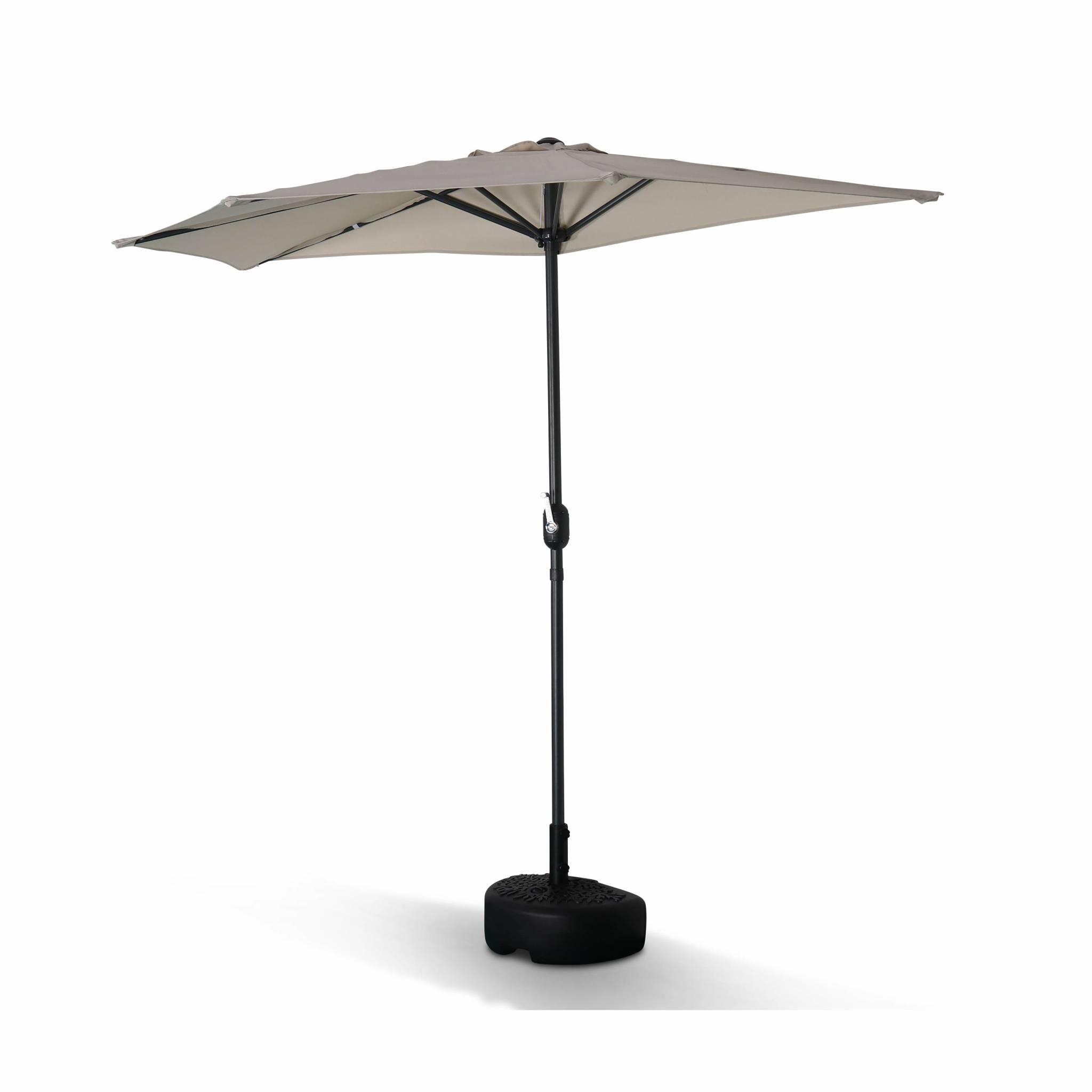 Demi parasol de balcon droit mât en aluminium toile sable D250cm