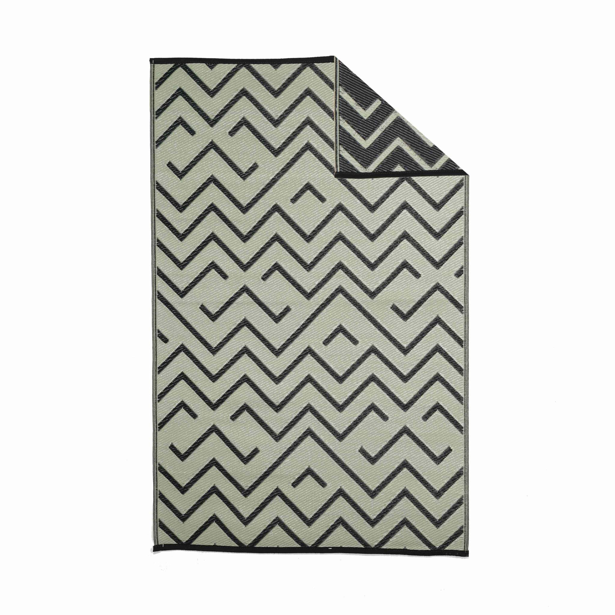 Tapis d'extérieur 120x180cm sydney - rectangulaire motif vagues noir