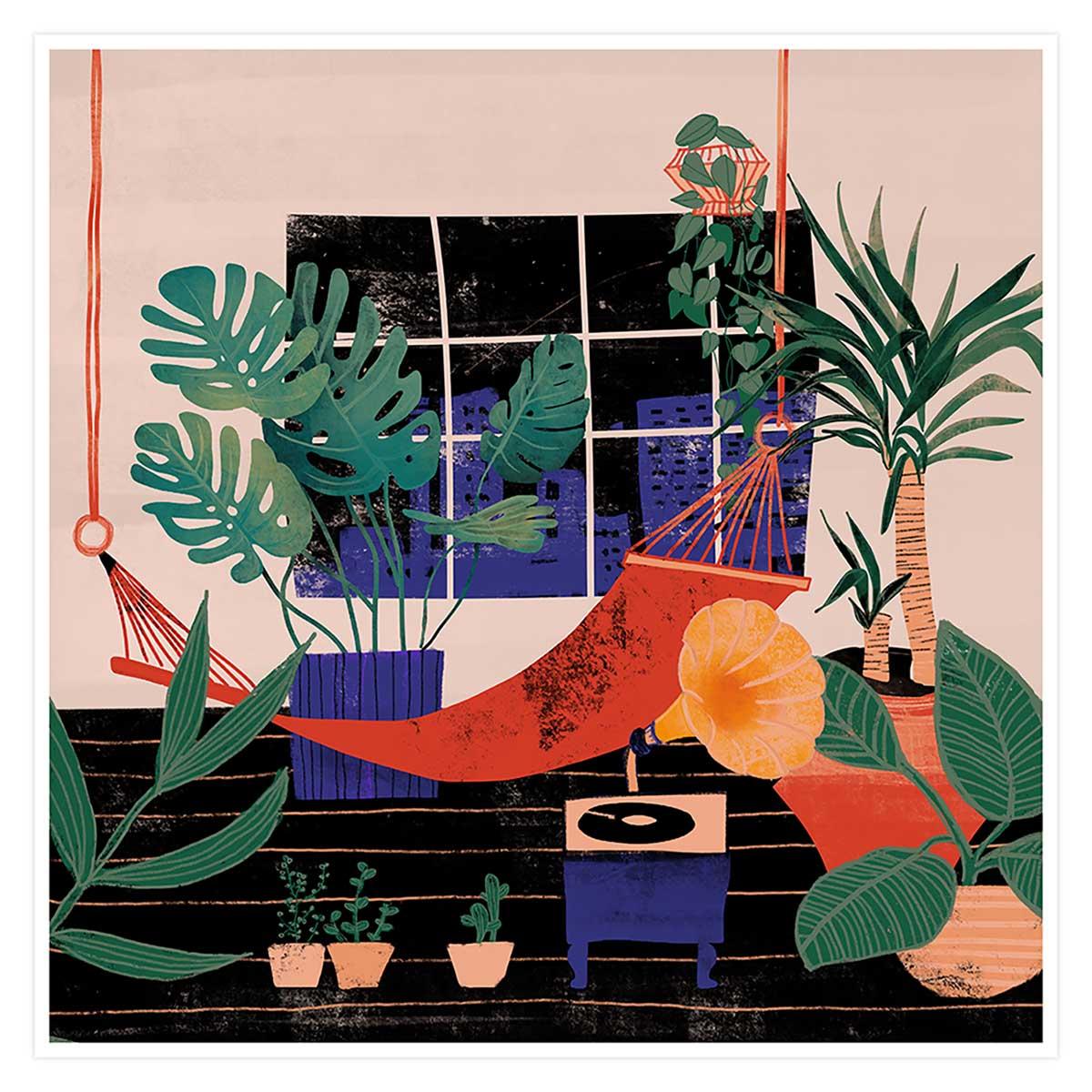 Affiche illustration chill tropical Affiche seule