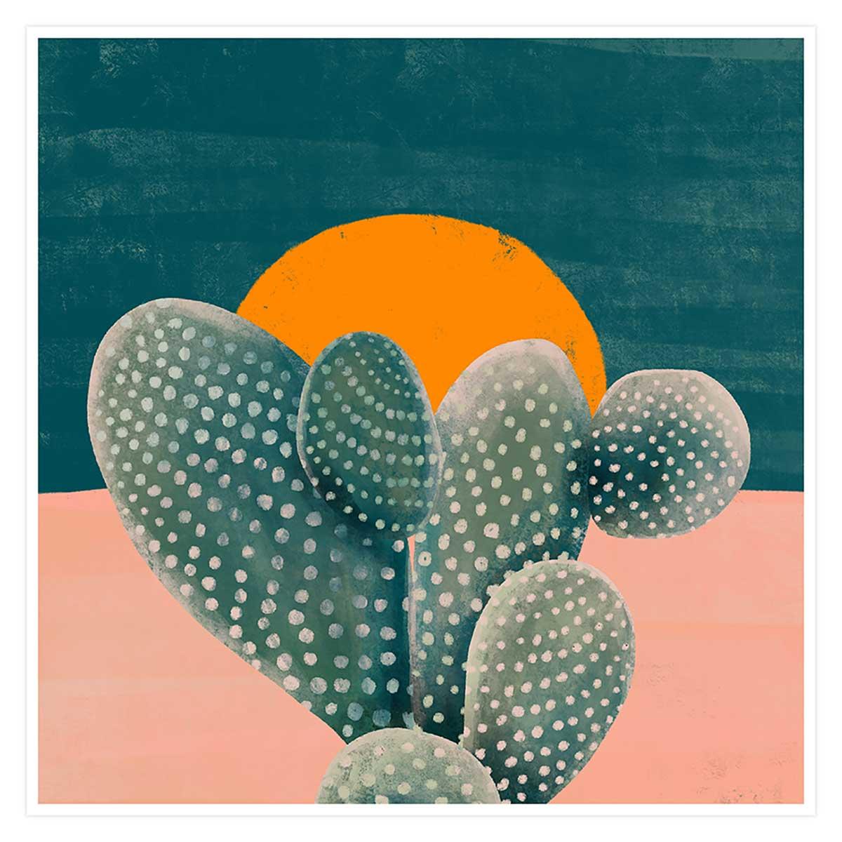 Affiche illustration cactus et soleil orange Affiche seule