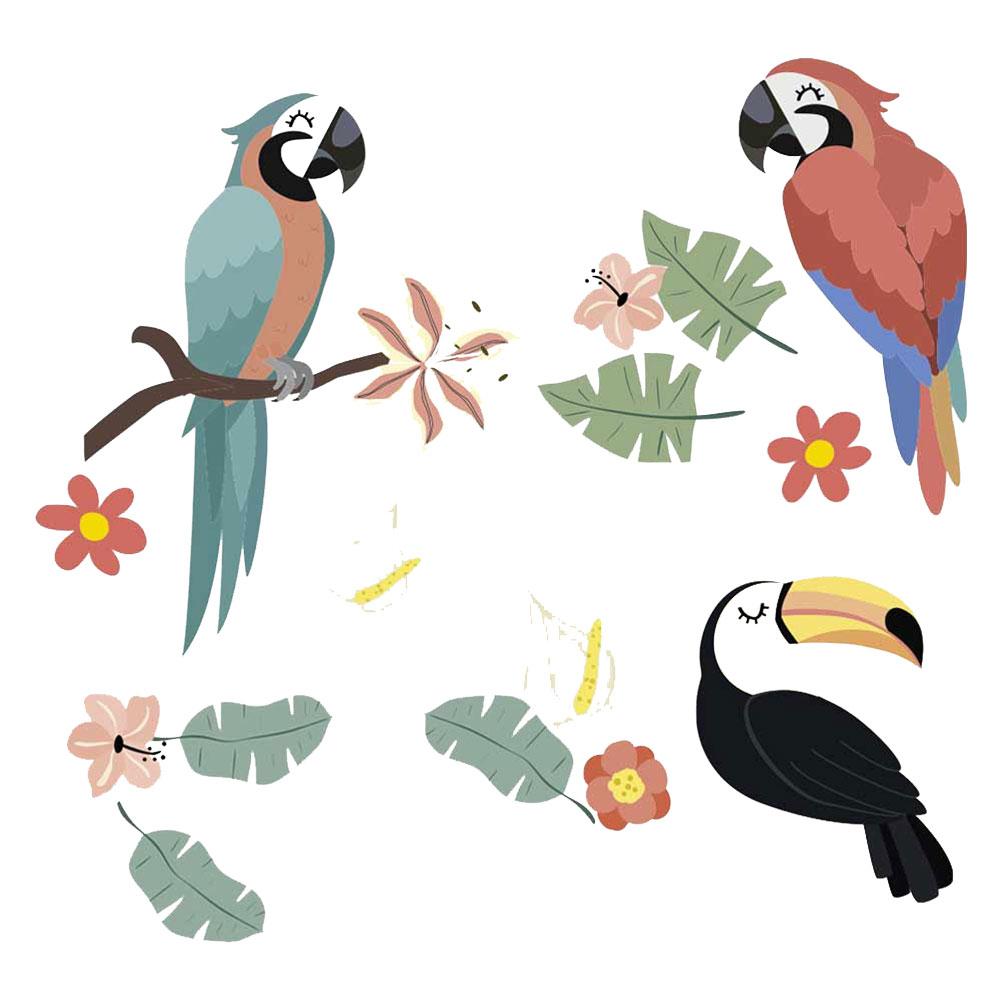 Stickers muraux enfant perroquets et toucan 64x73cm